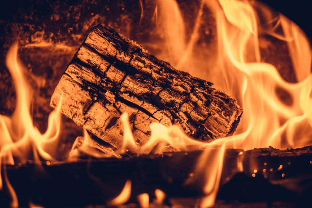 Wood in the flames