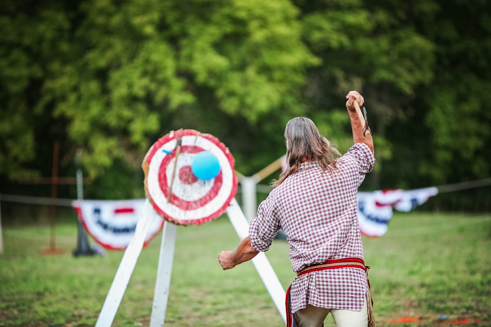 axe aimed at a target