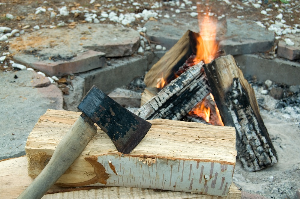 axe and campfire