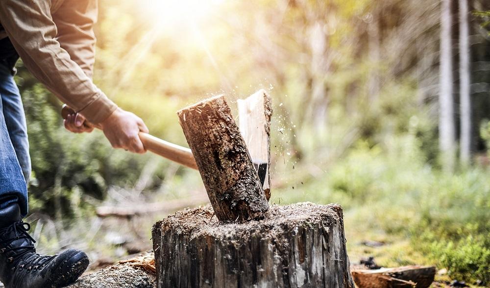 Man holding heavy ax