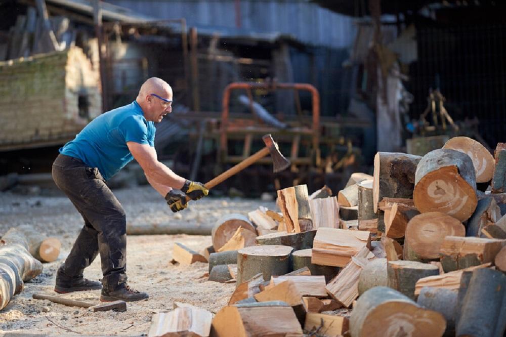 chopping wood at work