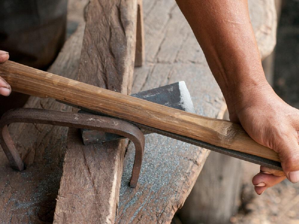 sharpening an ax